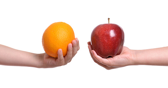 compare apple to orange white background