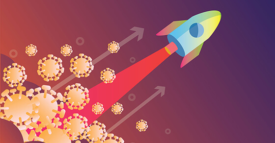 Rocket launch over virus. Victory over the virus covid-19 concept design. flat design vector illustration