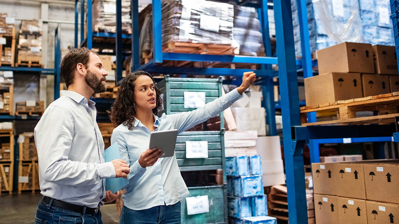 Workers tracking inventory