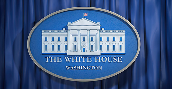 "Image of the White House with the words ""The White House Washington"" written underneath"