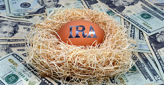 """orange egg in a nest on a table of money. The egg has """"IRA"""" printed on it."""