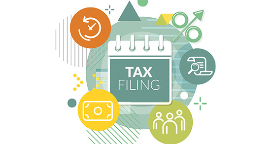 """graphic with a green square in the center and the words """"tax filing"""" on it. Surrounding the square is an orange circle in the top left that looks like a clock, bottom left is a yellow circle with an outline of a bill, bottom right is a green circle with the outline of three people and top right is the outline of a lamp and magnifying glass."""