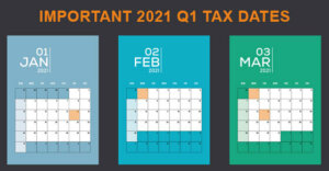 """calendar of Jan, Feb and Mar with important dates highlighted in a different color. The words """"Important 2021 Q1 Tax Dates"""" along the top of the image"""