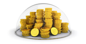 gold coins on a plate