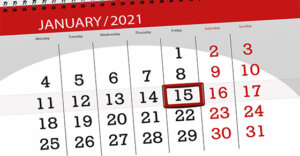 Calendar opened to the month of January and the 15th is circled.