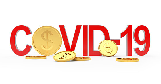 "White background with red letters spelling out the word ""COVID-19"" and gold coins surrounding the image."