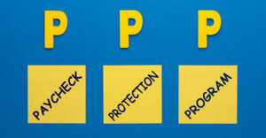 """blue backgound with 3 letter """"P""""'s aboved three yellow boxes that say """"Paycheck"""", """"Protection"""", """"Program"""" inside of each."""