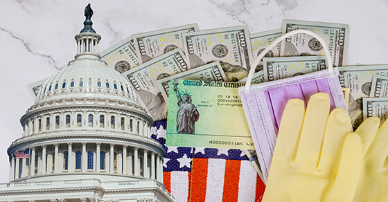 picture of the top of the capital building, a mask, part of the American flag, a bill with the statue of liberty, a rubber glove and bills