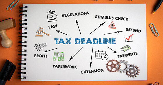 """graphic with the words """"tax deadline"""" in the middle and arrows pointing to additional graphics. Those additional graphics include """"regulations"""" with a clipboard, """"law"""" with a gavel, """"stimulus check"""" with an exclamation point, """"refund"""" with a checkmark box, """"payments"""" with money, """"extension"""" with a calendar, """"paperwork"""" with binders, """"profit"""" with gears"""