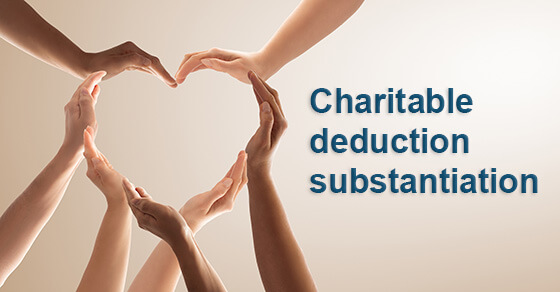 "picture of hands forming a heart with the words ""Charitable deduction substantiation"""