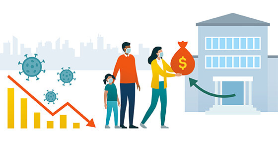 image of two adults and a child. to the left is a graph depicting a downward trend and virus symbols. to the right of the people is a bank an arrow pointing to one of the adults holding a money bag.