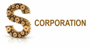 "the letter S is depicted with gears and the word ""corporation"" is next to it in gold."