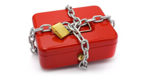 cash box with chains and a padlock