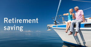 "two people smiling and sitting on the edge of a boat in the water. The words ""Retirement Savings"" are next to the boat."