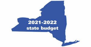 """Image of NYS with the words """"2021-2022 State Budget"""" inside."""