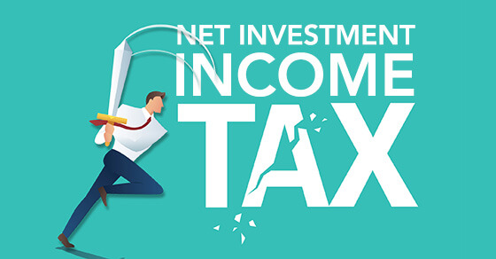 """Graphic of business man smashing a bat at an image that reads """"Net investment income tax"""""""
