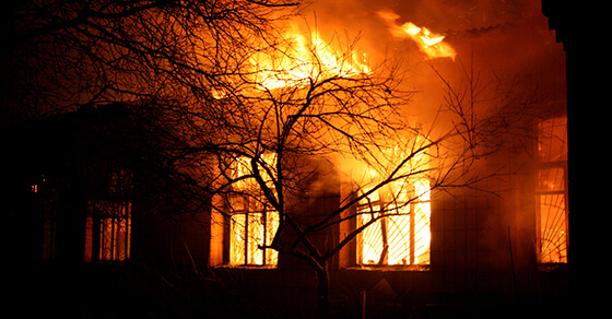 Image of a building on fire