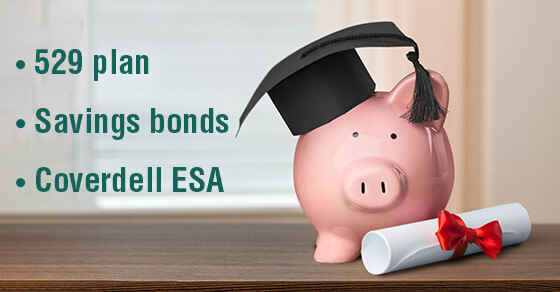 """Image of a piggy bank on a table wearing a graduation cap and holding a diploma. The words next to it say """"529 plan"""", """"savings bonds"""", and """"Cloverdell education savings accounts"""""""