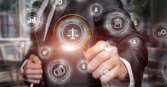 virtual icons surrounding a professionally dressed individual. Icons include the justice scale, checklist/clipboard, person, etc