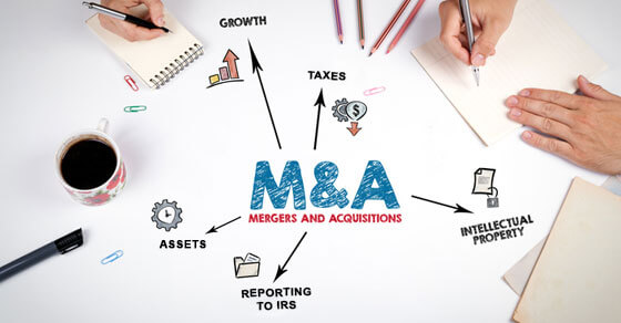 M&A graphic. M&A (mergers and acquisitions) in the middle and outside have icons depicting the various parts involved in a M&A engagement such as taxes, growth, assets, etc.