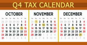 October, November, December 2021 small business tax due dates