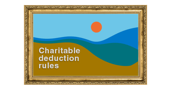 """scenic image with the text """"charitable deduction rules"""" next to it."""